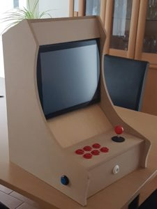 An assembled, albeit raw, Arcade Machine.